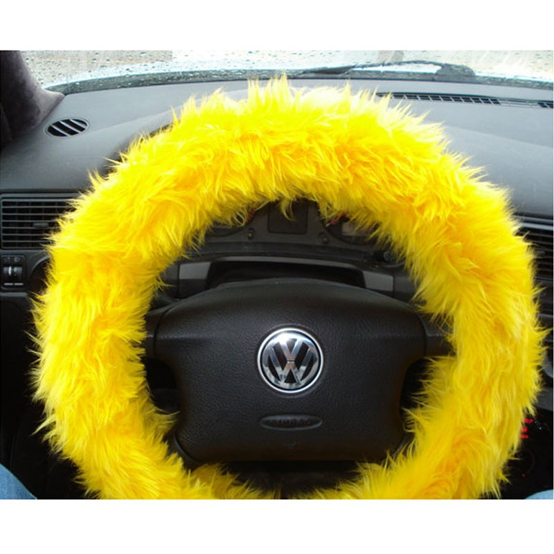 Multicolor Fuzzy Steering Wheel Cover Car Accessories Universal Fit Car  Steering Wheel Gear Shift Cover Handbrake Cover (Yellow)
