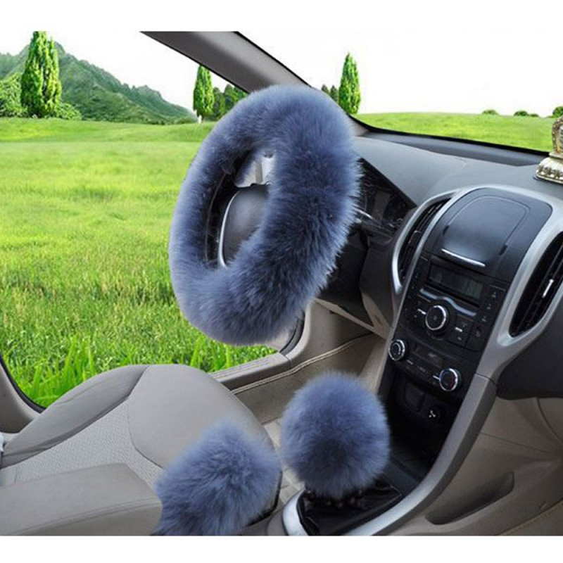 Blue Multicolor Fuzzy Steering Wheel Cover Car Accessories Universal Fit Car Steering Wheel Gear Shift Cover Handbrake Cover