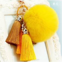 Faux Fur Ball Tassel Pompom Keychain ring