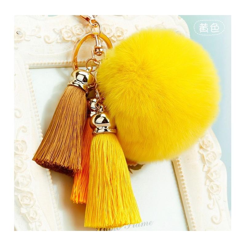 Faux Fur Ball Tassel Pompom Keychain ring